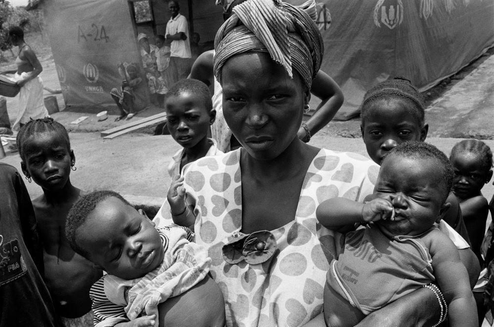 Camp de réfugiés de Sierra-Léone. Lanquette de Guéckédou. Avril 2001